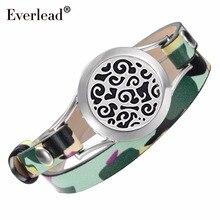 Браслеты EVERLEAD с эфирным маслом модные камуфляжные обруч из натуральной кожи браслеты для женщин 316L медальоны из нержавеющей стали