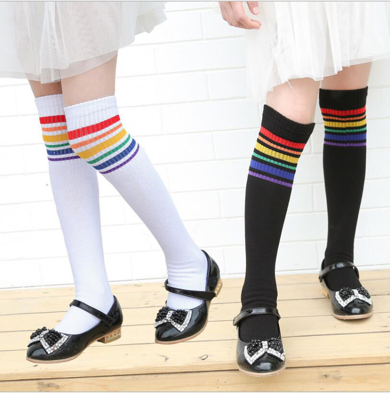 Детские носки до колен, маленькие девочки, радуга в полоску, длинные носки для детей 3 ~ 12 лет