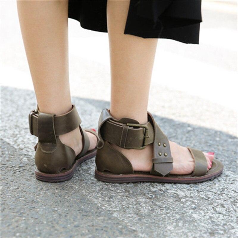 Femme En atrovirens D'été Appartements Sandalias Casual Rétro Marron Sandales Véritable Cuir Femmes Chaussures Mujer Plage De Jady Plates Rose xvUwzz