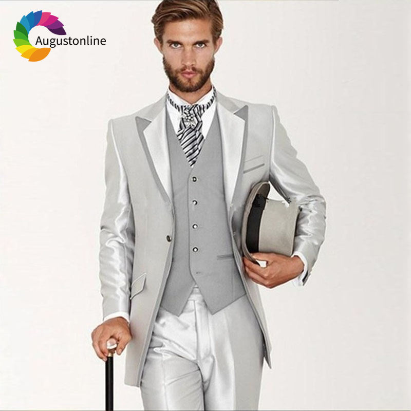 Italian Style 2019 Slim Fit Silver Men Suits For Wedding Groom Evening Party Prom Formal Tuxedo Best Man Blazer Traje Hombre