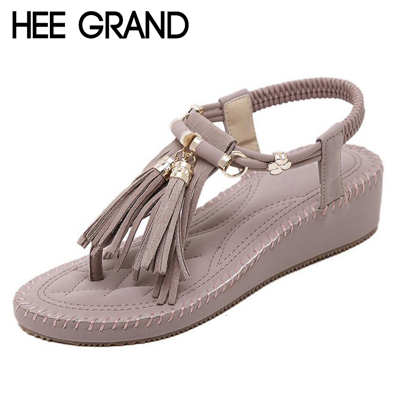 HEE GRAND Gladiator Tassel Sandals Woman Summer Casual Shoes Wedges Beach Flip Flops XWZ2608 hee grand lace up gladiator sandals 2017 summer platform flats shoes woman casual creepers fashion beach women shoes xwz4085