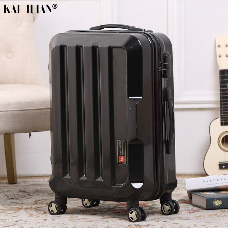 20''24'' Homens girador bagagem rolando mala de viagem sobre rodas Prata preto carry-on do trole da moda mala de bagagem de Cabine