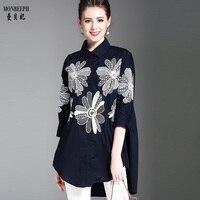 MONBEEPH Women Elegant Embroidery Blouses Cotton Linen Ladies Office Wear Loose Shirts Casual Fashion Shirts
