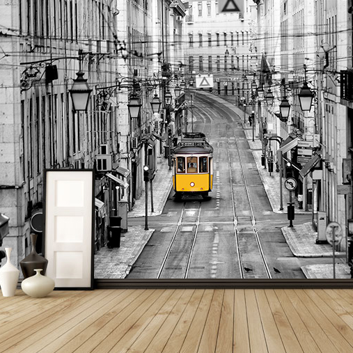Custom 3D Photo Wallpaper European Street Wallpaper Living Room Background Black White Building Wallpaper Mural