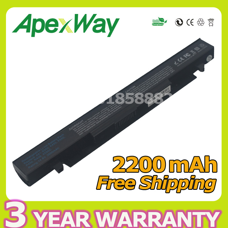 ApexWay2 Store Apexway 4 cells laptop battery for Asus A41-X550 A41-X550A A450 A550 F450 F552 K450 P550 K550 P450 R409 R510 X450 X550 Series