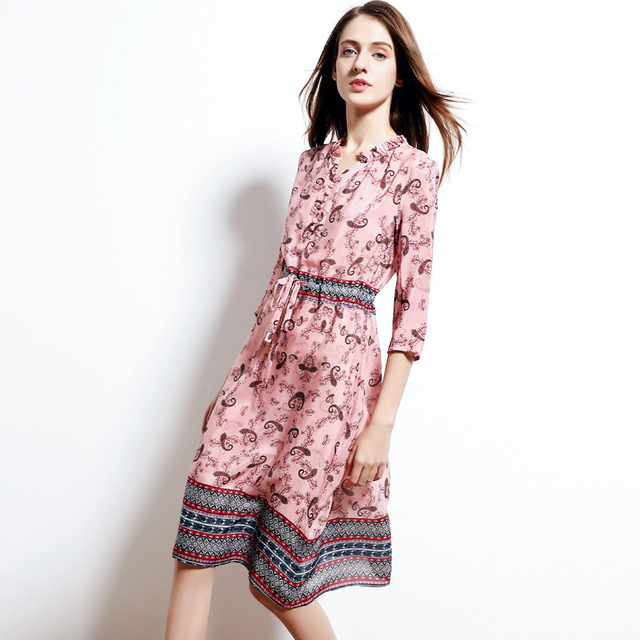 silk dress 2019 spring summer women's long casual sexy chiffon beach dresses bohemian plus size pink paisley floral printed
