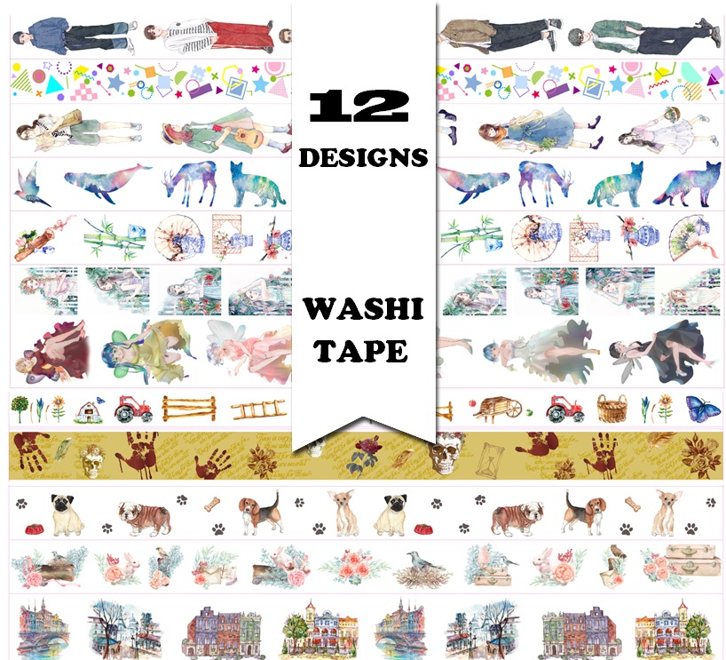 12 Designs NEW! Flowers/Girls/Boy/Bird/Dog/Skull Pattern Japanese Washi Decorative Adhesive DIY Masking Paper Tape Sticker Label purple branch pattern japanese washi tape set of pastel decorative adhesive masking paper tapes 1pcs lot