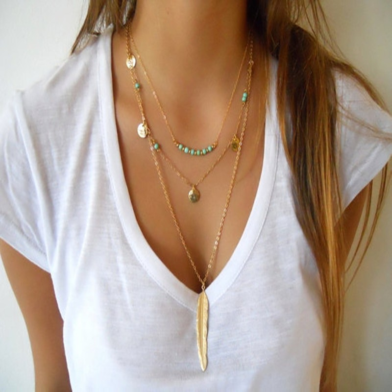 New Fashion Boho Women's Simple Chain Multilayer Necklace Golden Color Stone Feather Pendant Sequins Tassel Necklace