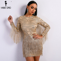 Missord 2018 Sexy O Neck Long Sleeve Tassel Glitter Elegant Gold Dress FT8580 1
