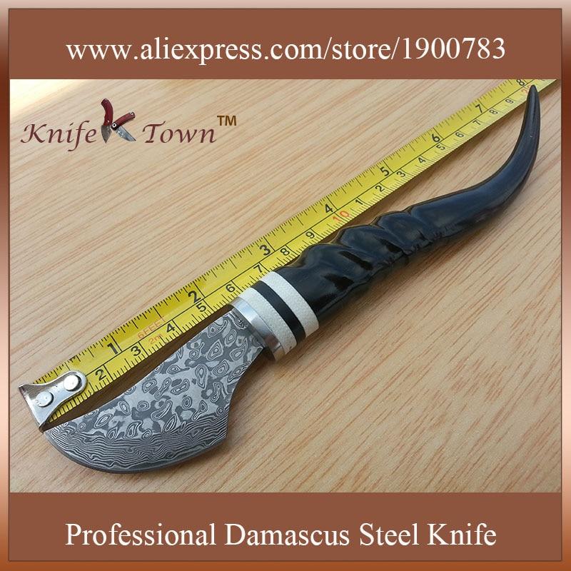 DT018 new style damascus steel font b knife b font goat horn handle font b hunting
