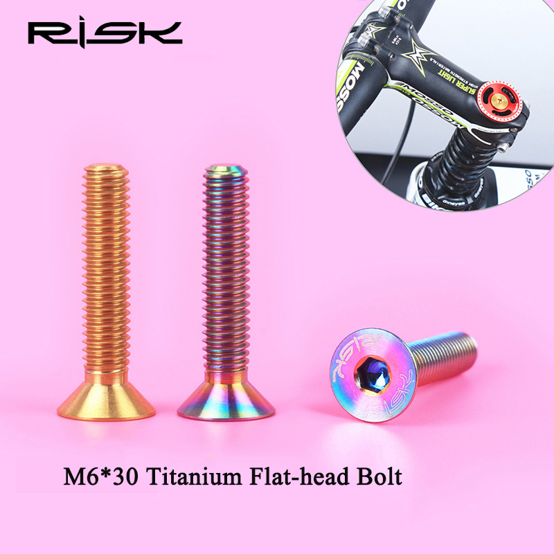 RISKA 1PCS M6 * 30mm Titāna sakausējuma plakana galvas fiksētas bultskrūves velosipēdu austiņu cilpas vāciņam Riteņbraukšana MTB kalnu velosipēdu skrūves M6x30mm