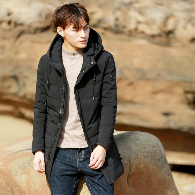 The eye in the long coat purification 2016 male Hooded Winter new slim padded coat thick cotton padded jacket
