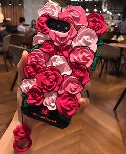 Image 3 - Gümrükleme iPhone kılıfları X 8 7 6 6 s Artı Durumda Güzel 3D Gül Çiçek Arka Kapak Coque Kabuk iPhone 7 Kayış ile