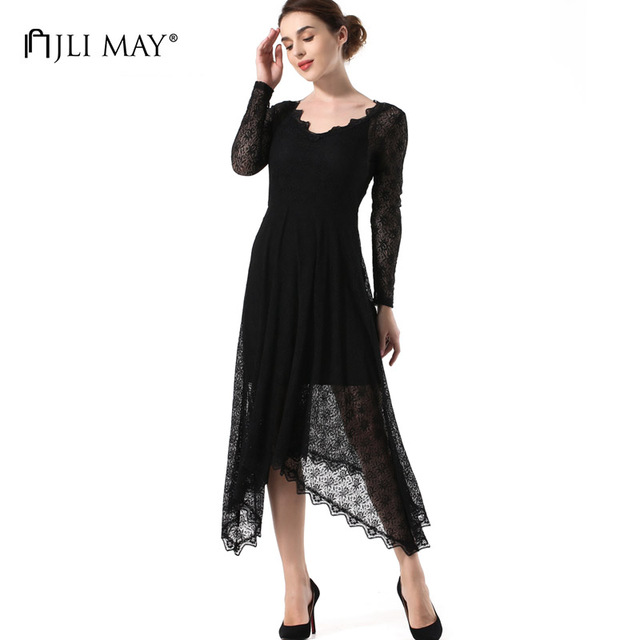 JLI MAY Black lace long dress women vintage party evening sexy asymmetrical v-neck long sleeve backless autumn ladies dresses