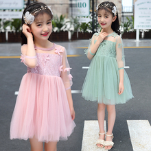 Summer Girls Dress Children Princess Dress Big Girls Half Sleeve Tulle Lace Dress Kids Cute Tutu Dress Girls Clothes girls contrast lace dress
