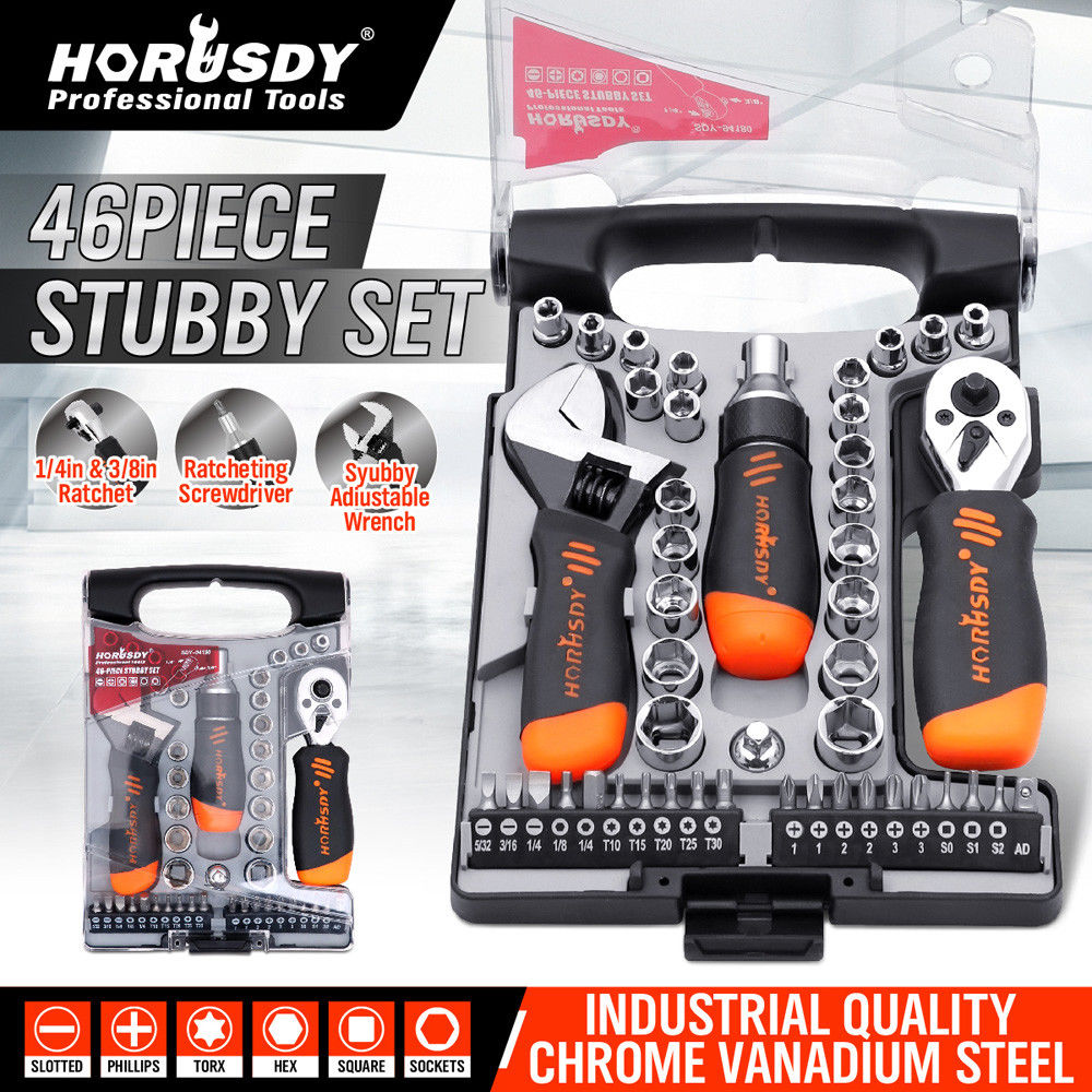 HORUSDY 46PC Ratchet Wrench Socket Wrench Set Adjustable Open Wrench Hand Tool Set 1 4 3