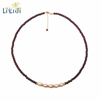 Lii Ji Gemstone Red Garnet Freshwater Pearl AA 925 Sterling Silver Gold Plated Choker Necklace