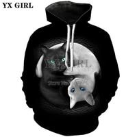 YX GIRL Women Sweatshirt Print cute Cat Hoodie 2018 New Print hip hop Black Cute Casual Long Sleeve Jerseys