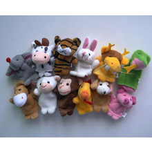 Chinese Zodiac 12pcs/lot Animals Cartoon Biological Finger Puppet Plush Toys Dolls Child Baby Favor Finger Doll Free shipping
