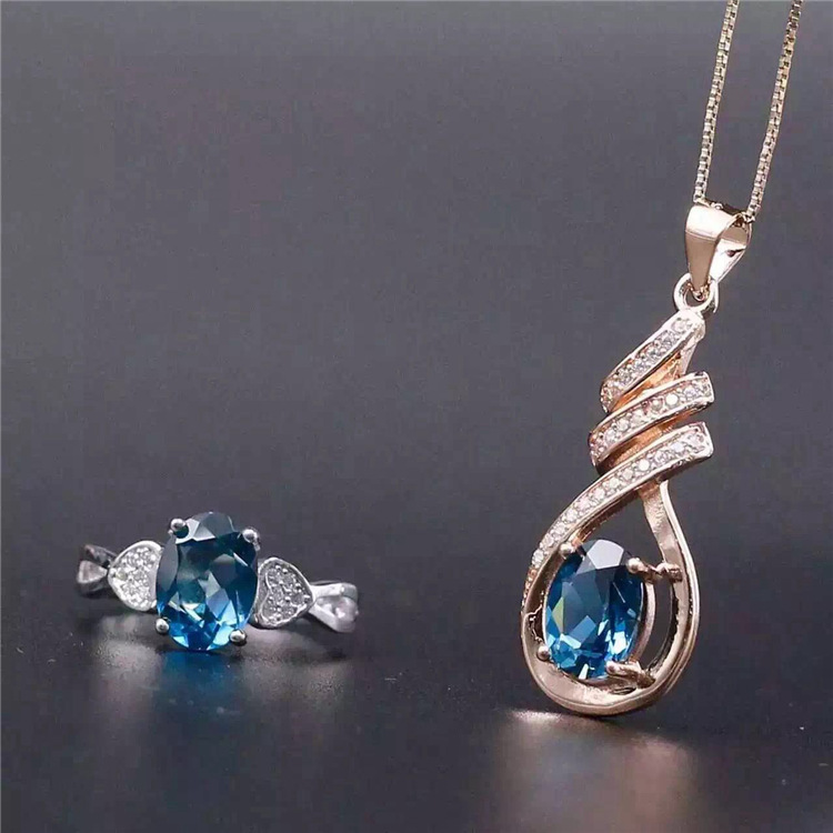 Multicolored natural Topaz blue suit suit 925 Silver Ring + pendant set free shipping рюкзак madpax rex 2 half light blue multicolored kab24485083 225874