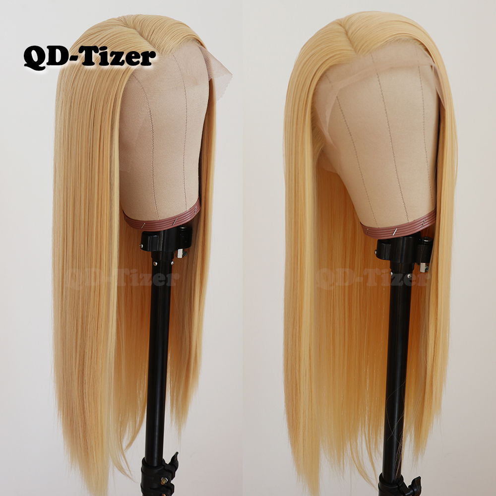 QD Tizer Hair Long Straight Hair #613 Color Lace Hair Glueless Heat Resistant Synthetic Lace Front Wigs for Black Women-in Synthetic Lace Wigs from Hair Extensions & Wigs