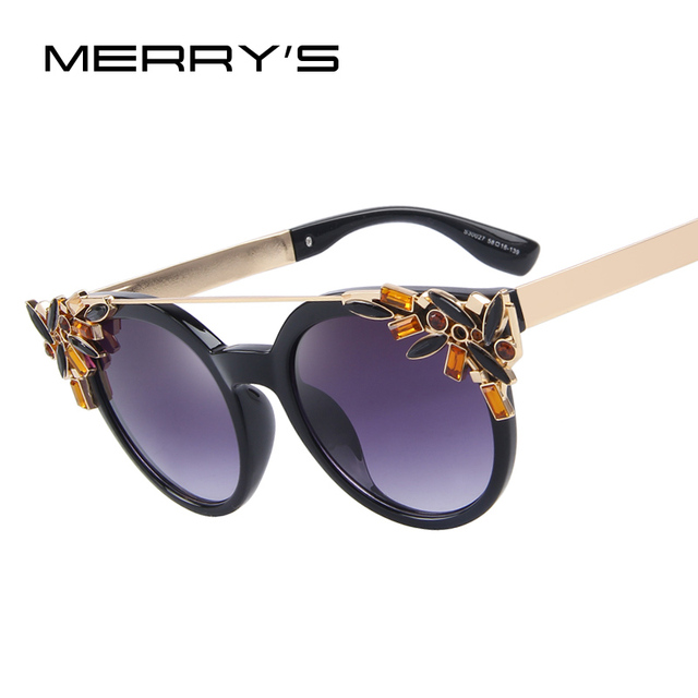 MERRY'S Women Cat Eye Sunglasses Vintage Brand Designer Crystal Diamond Frame Sunglasses S'8053