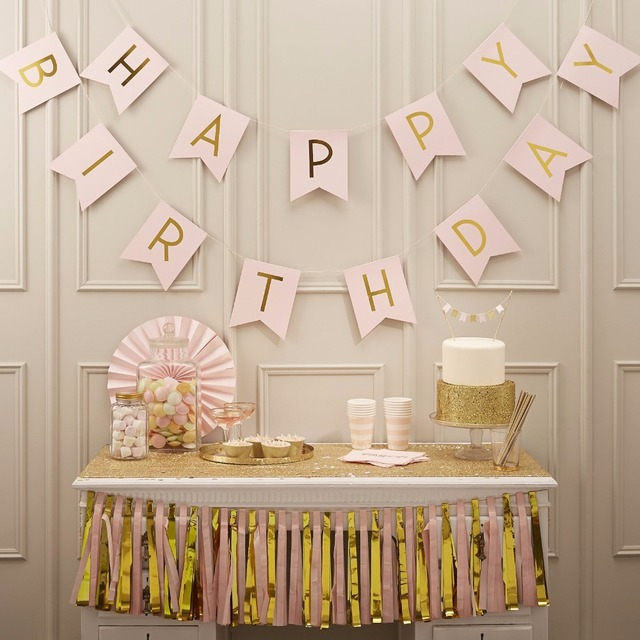 Glitter Happy Birthday Bunting Banner Gold Letters Hanging Garlands Pastel Pink String Flags Baby Shower Party Decoration