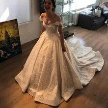 2019 Glamorous Off Shoulder Wedding Dress Lace Appliques Sequins Dubai  Saudi Arabic Bridal Gowns Court Train 4ec5950dc98e