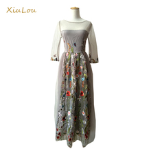 2017 summer Net yarn Sexy embroidery dress fashion long dress women long dresses for weddings