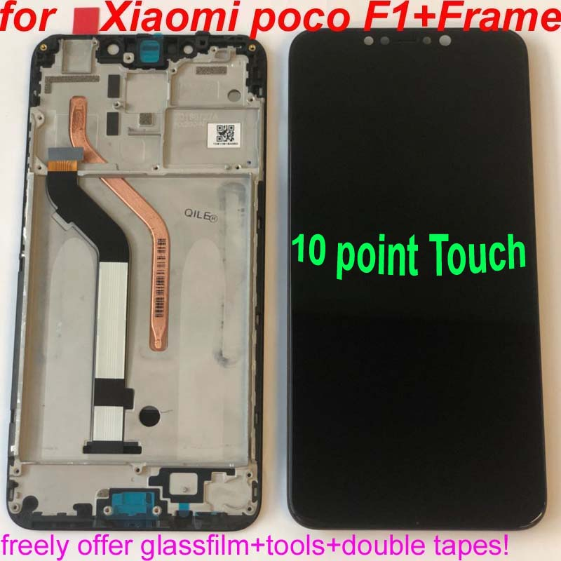 "100% Original+Frame For 6.18"" Xiaomi Poco F1 LCD Display Touch Screen Digitizer Assembly For Xiaomi Mi Pocophone F1(10 Point)(China)"