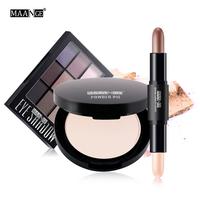 MAANGE 3Pcs Professional Face   Makeup     Set   Powder Eyeshadow Palette highlight concealer pen with Bag Maquillage