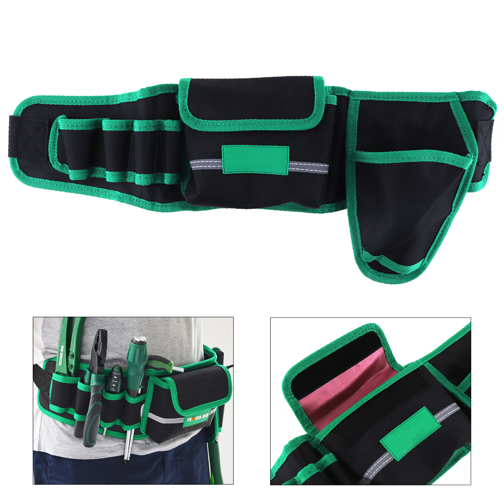 Multifunction Durable Waterproof Waist Tool Bag Belt Electrician Repair Tool Holder Pouch Organizer With Electric Drill Pocket