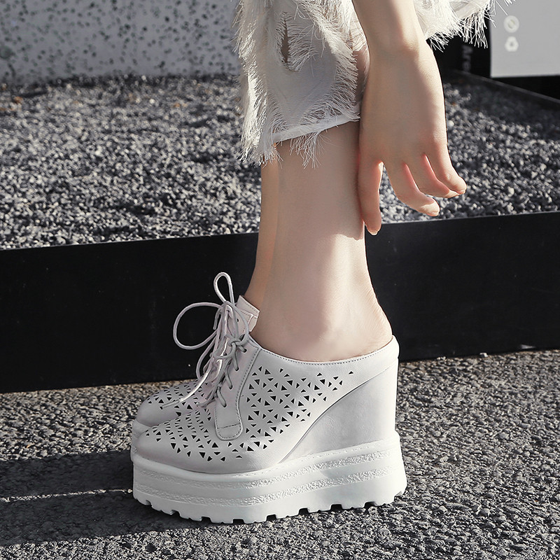 3bd7eff26 YMECHIC 2018 White Punk Platform Shoes Woman Creepers Hollow Holes Wedges  High Heels Cross Tied Ladies