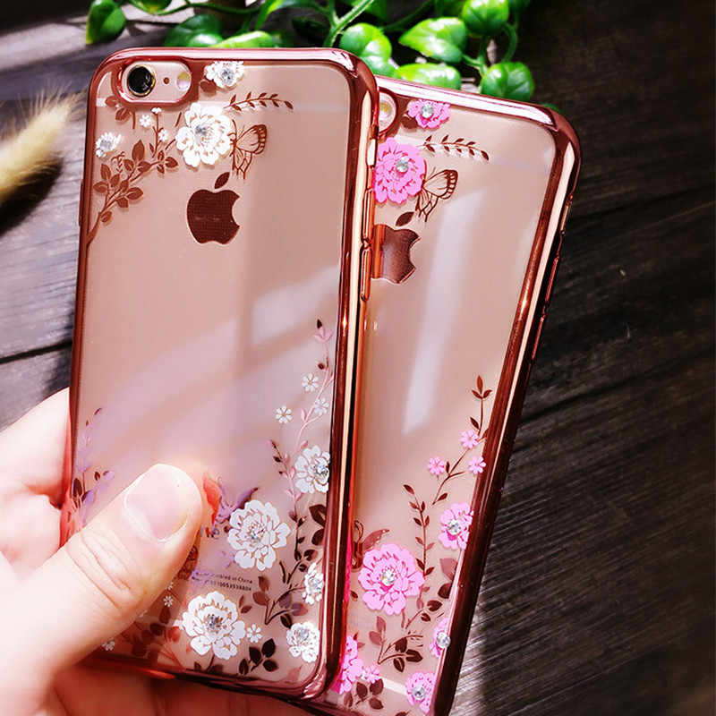 Para iPhone 6S 5S iPhone 6 Plus 7 7X8 más Chic Flora diamante Bling strass claro TPU caso suave para iPhone XS MAX XR