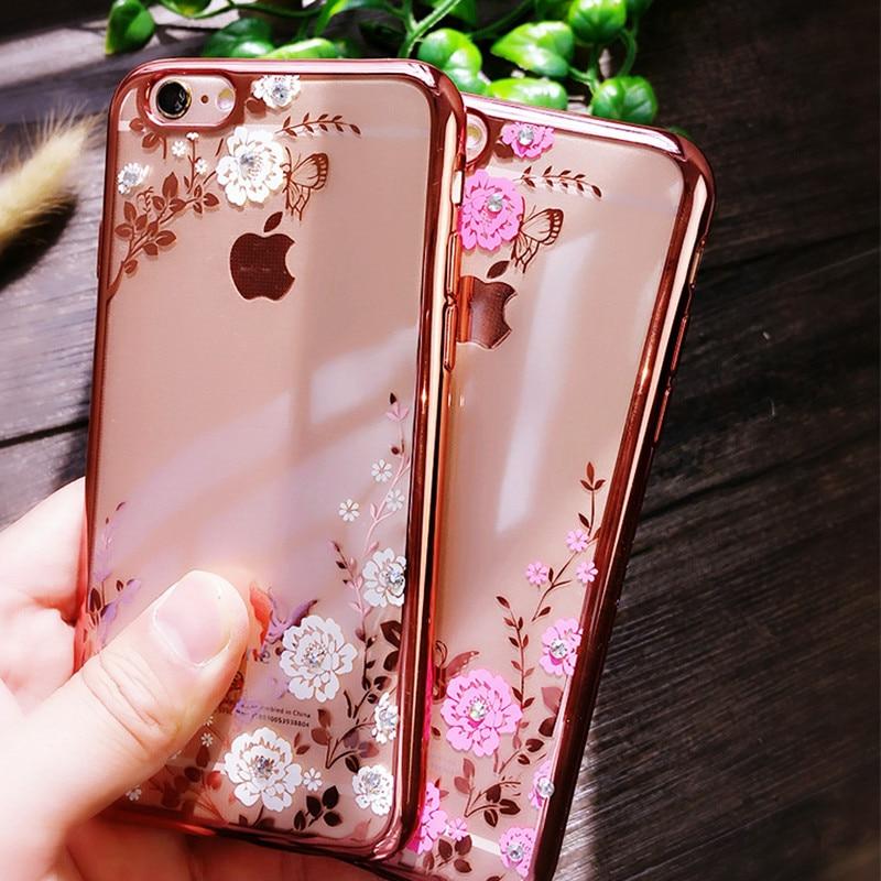 d4a1d5f962de For iPhone 6 S 5S SE 6 Plus 7 Plus X 8 Plus Chic Flora Bling Diamond  Rhinestone Clear