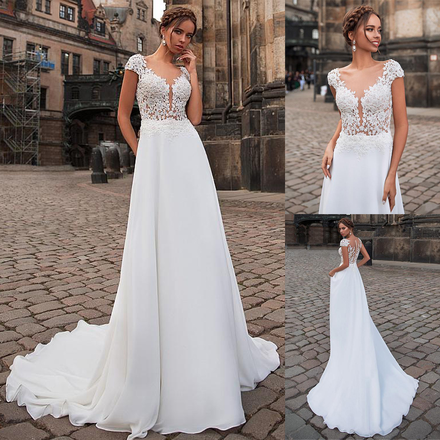 Graceful Bateau Neckline See-through Bodice A-line Wedding Dress With Beadings Illusion Back Long Bridal Dress