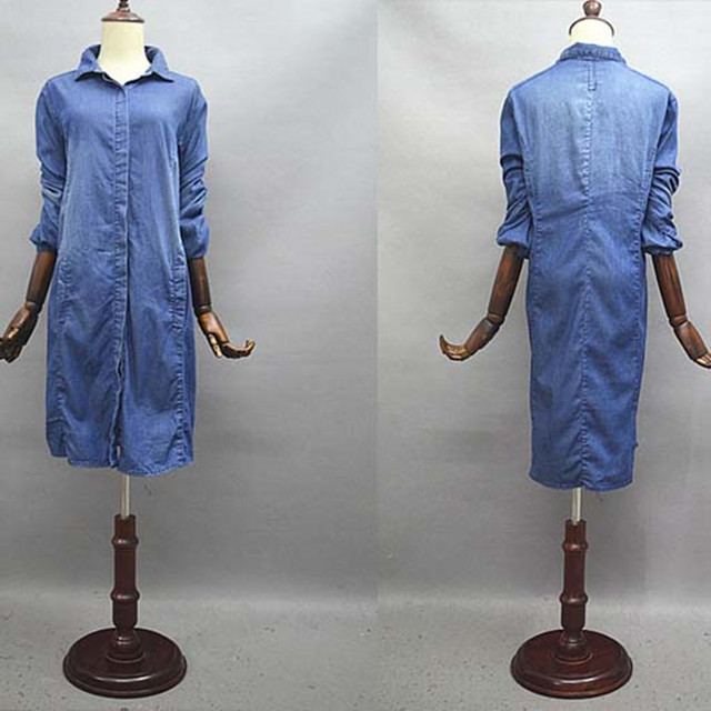 El envío Libre 2017 Nuevas del Dril de algodón Abrigo Para Las Mujeres de La Rodilla-longitud Más Tamaño Pantalones Vaqueros Flojos prendas de Vestir Exteriores de Manga Larga Vestidos Camisa de fuerza