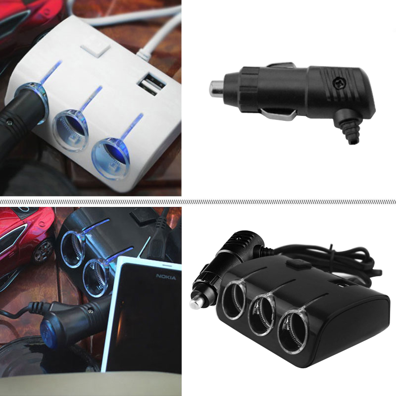 Truck Cigarette Lighter Adapter Car Splitter Power Adapter USB Vehicle charger Socket For IPhone IPad Phone DVR GPS with Lights 5