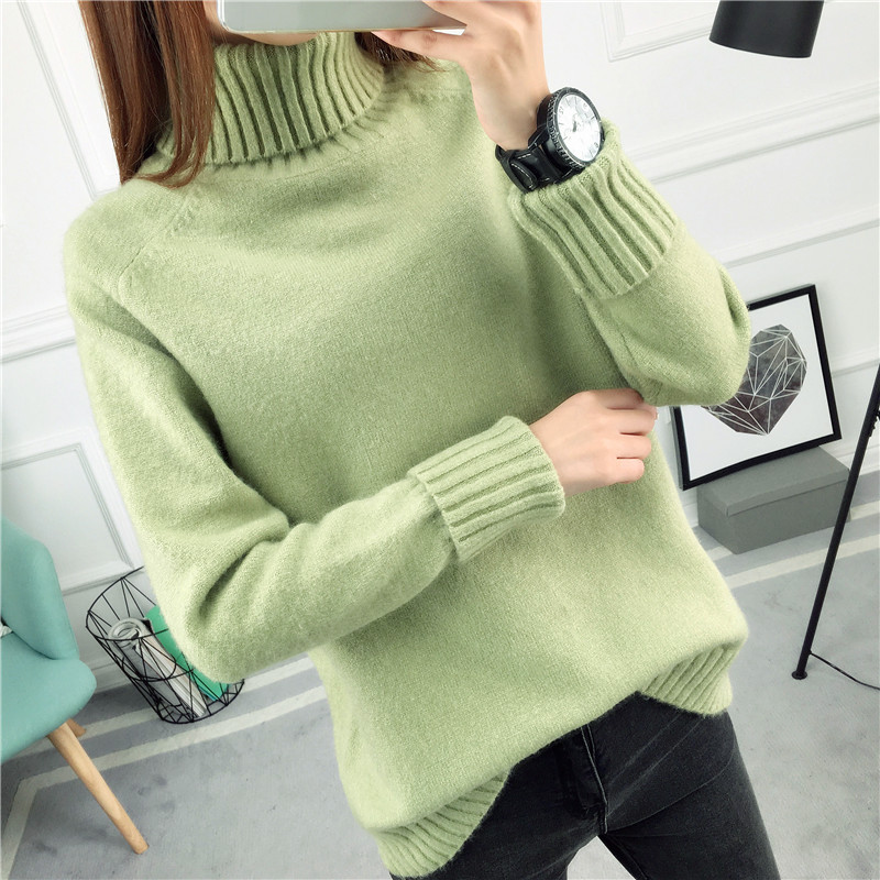 Women White Lapel Turtleneck Sweater Female Basic Knitted Shirt ...