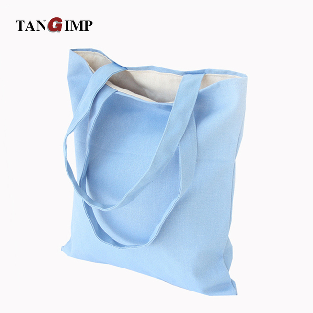 7d1f192a89fd TANGIMP 2017 Solid Natural Color Eco Cotton Tote DIY Reusable Shoulder Bag  Handbag Shopping School Tote