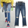 2016 Vintage High Waist Flare Pants Denim Jean Women Trousers Wash Torn Jeans Casual Hole Ripped Jeans Distressed Cropped Jeans