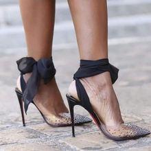 Doris Fanny Brand strappy sandals Clear PVC Crystals heels transparent Women Sandals Summer shoes