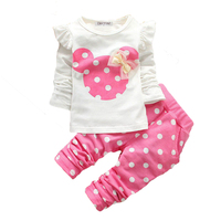 4 Color 2016 New Baby Girls Clothing Sets Kids Girls T Shirt Pant Cartoon Suit Clothing