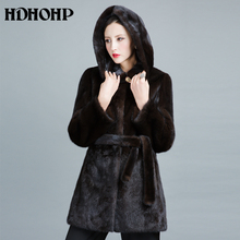 HDHOHP 2017 Real Mink Fur Coats Women New Fashion Winter Thick Warm With Hood Female Outwear Natural Fur jackets For Girls