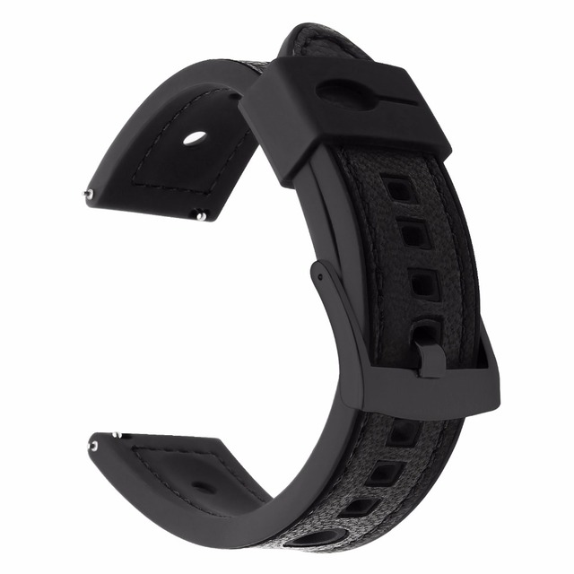 Genuine Leather + Silicone Rubber Watchband for Samsung Gear S3 Classic Frontier Amazfit 22mm Watch Band Quick Release Strap