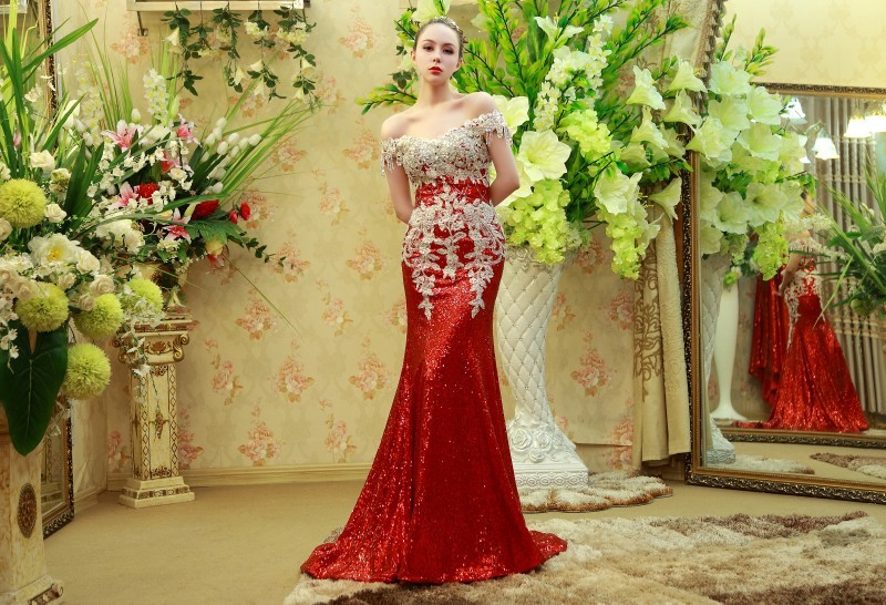 Custom Made Mermaid Sequins Tulle Lace Crystal Stones Diamond Luxury Sexy Evening Dress Party Gowns Dress Evening Gown SW14 6