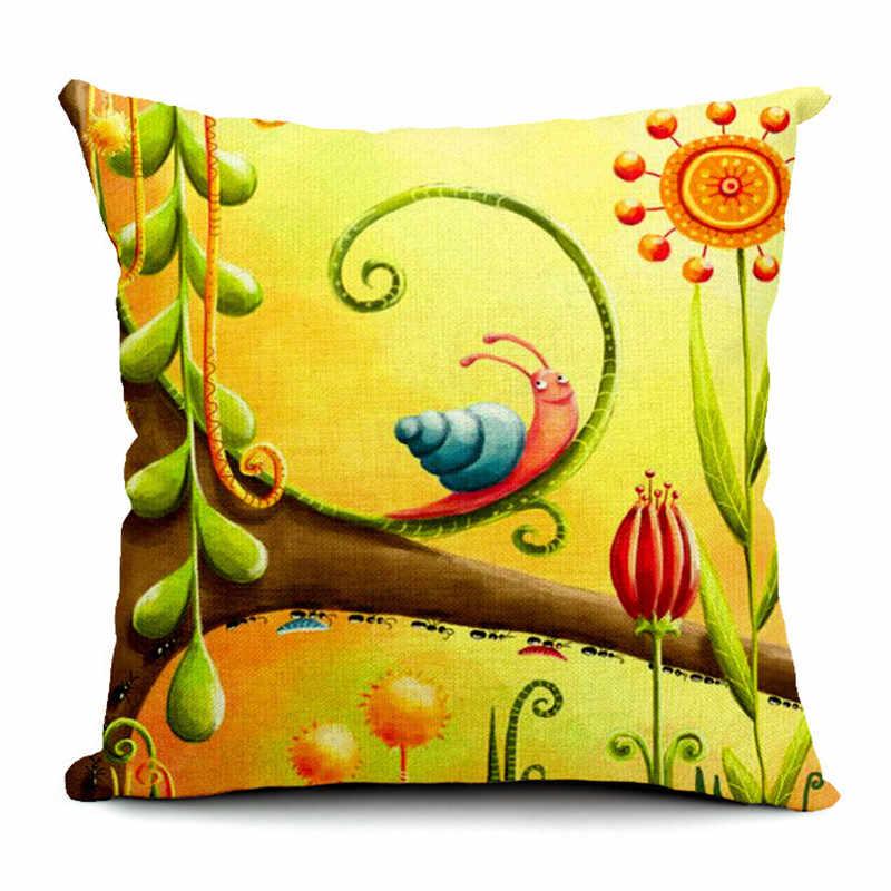 Capas de Almofada da aguarela 45*45 cm Caracol Sol Dos Desenhos Animados Da Árvore Flor Peixinho 1 Carro de Impressão Saco de Feijão Sala de estar pillow Decor sofá Caso