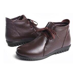 Image 3 - AARDIMI Botines cálidos de piel auténtica para Mujer, botas clásicas con cuña, para invierno