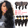 7A Ear To Ear Lace Frontal With Bundles Loose Wave Brazilian Virgin Hair With Lace Frontal 13x4 With 4 Bundles Hair Weaves