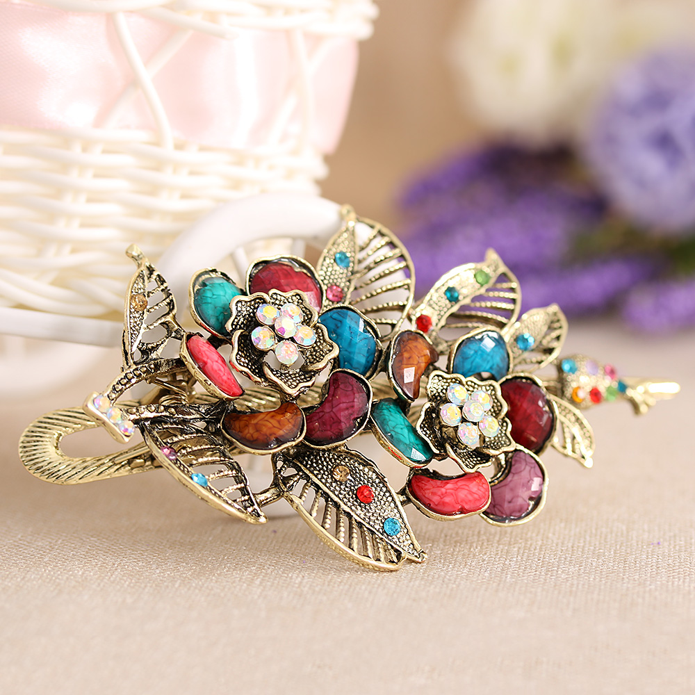 Women Lady Fashion Crystal Rhinestone Hairpin Resin Rose Flowers Hair Barrette Clip